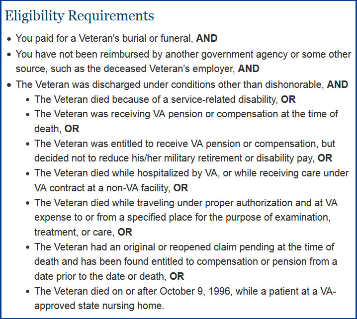 Veteran Fineral Expenses Eligibility